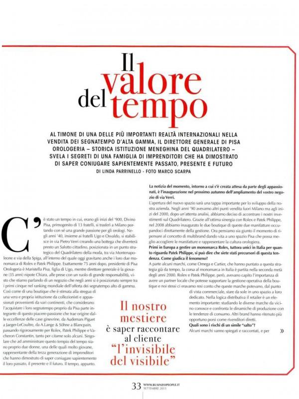 """""""Il valore del tempo"""" – BUSINESS PEOPLE"""