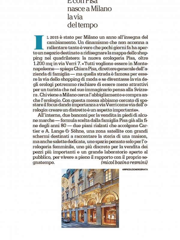 """""""E con Pisa nasce a Milano la via del tempo"""" – LA REPUBBLICA"""