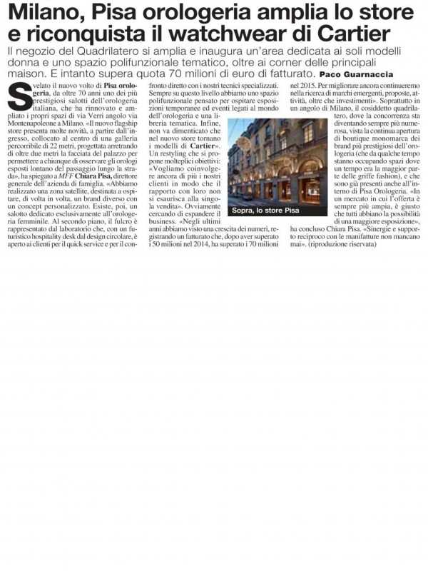 """""""Milan, Pisa enlarges its store and reconquers Cartier's watchwear""""  – MF MILANO FINANZA"""