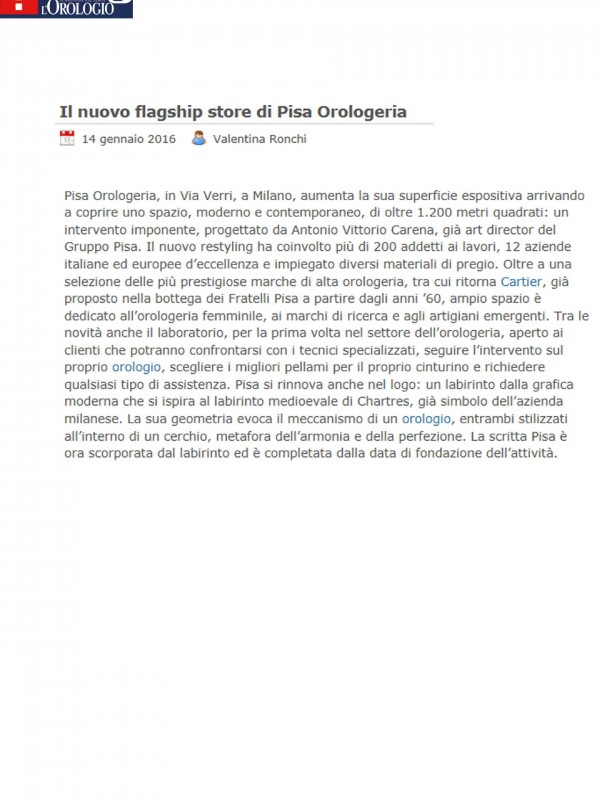 """The new flagship store of Pisa Orologeria""  – WWW.OROLOGIOBLOG.NET"