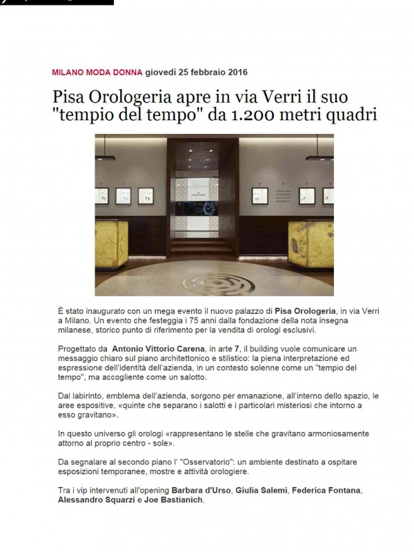 """Pisa Orologeria opens in via Verri its own ""temple of time"" of 1.200 squared meters "" – FASHIONMAGAZINE.IT"
