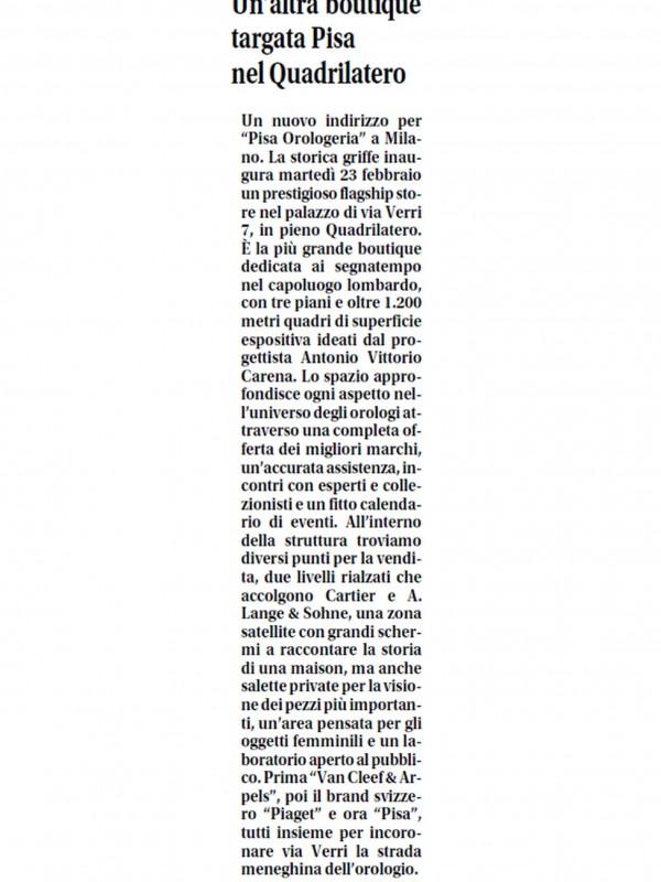 """Another Pisa boutique in the Quadrilatero district""  – LIBERO"