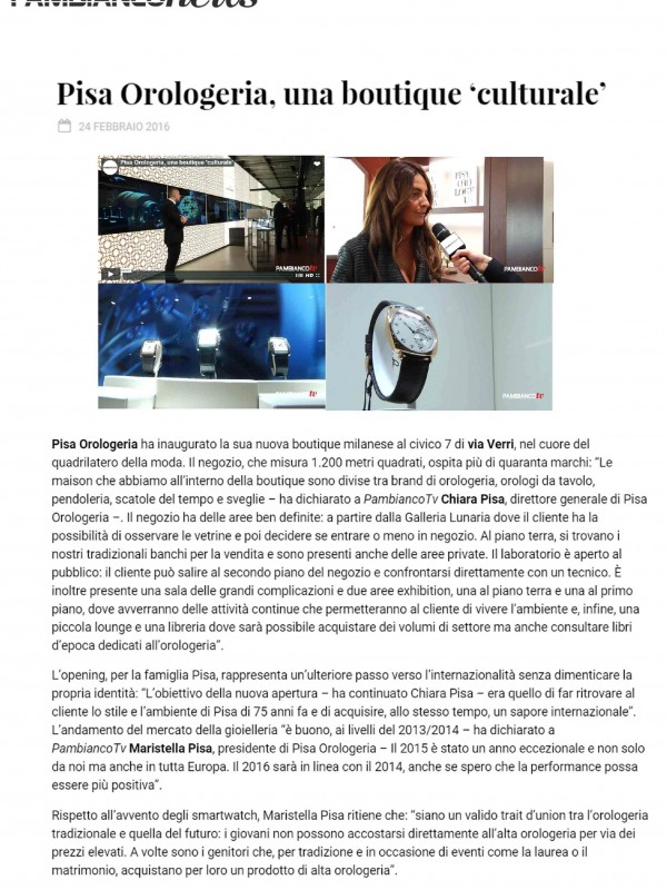 """Pisa Orologeria, una boutique 'culturale'"" – PAMBIANCONEWS.COM"