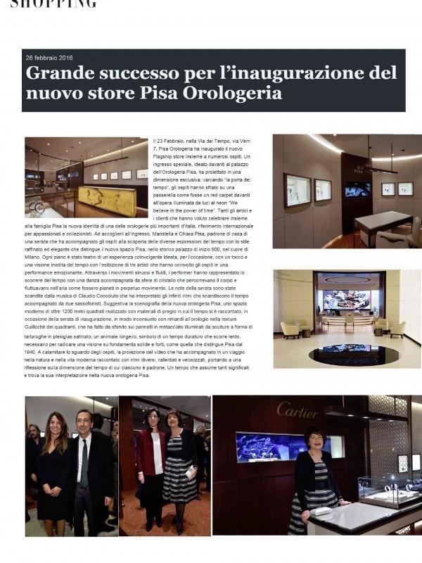 """""""Grande successo per l'inaugurazione del nuovo store Pisa Orologeria"""" – SHOPPINGMILANOROMA.IT"""
