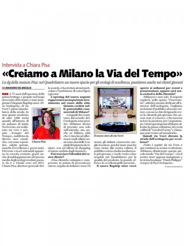 """""""Creiamo a Milano la via del tempo"""" – LIBERO"""
