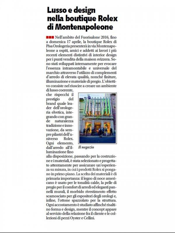 """""""Luxury and design in the Rolex boutique in via Montenapoleone"""" – LIBERO"""