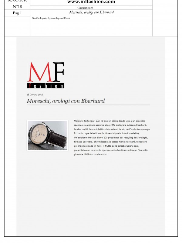 """Moreschi in partnership with Eberhard watches"" – MFFASHION.COM"