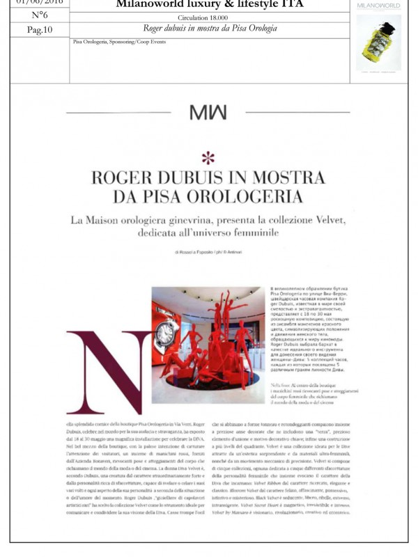 """Roger Dubuis on display at Pisa Orologeria"" – MILANOWORLD LUXURY & LIFESTYLE"