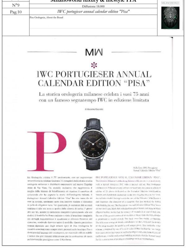 """IWC Portugieser Annual Calendar Edition Pisa"" – MILANOWORLD LUXURY & LIFESTYLE"