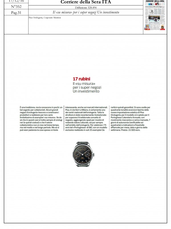 """""""The """"tailored made"""" is an investment for super stores"""" – CORRIERE DELLA SERA"""