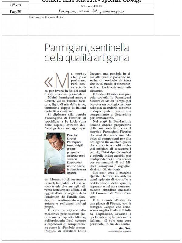 """""""Parmigiani, sentinel of artisan quality"""" – CORRIERE DELLA SERA – SPECIALE OROLOGI"""
