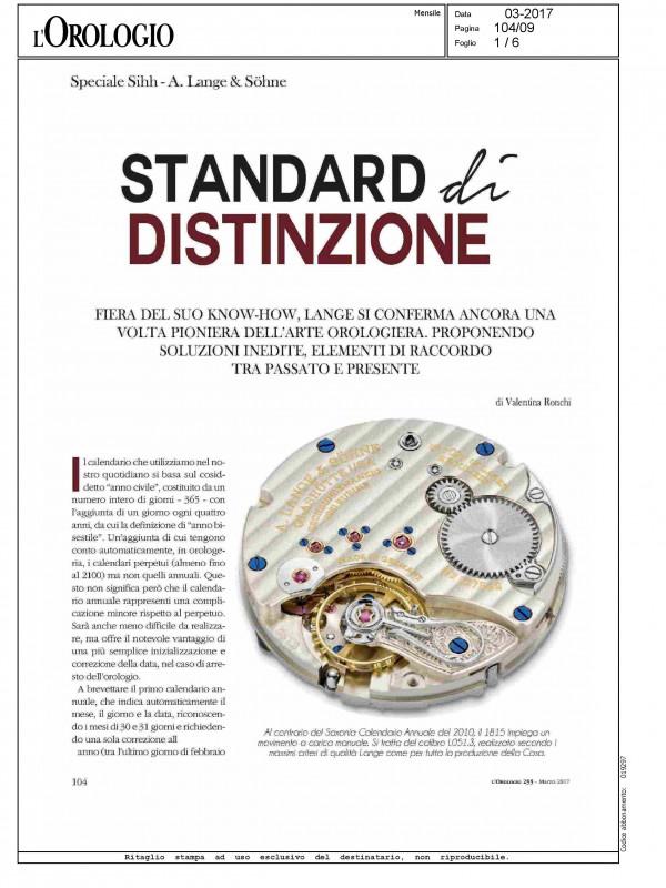 """""""Standard di distinzione"""" – L'OROLOGIO"""
