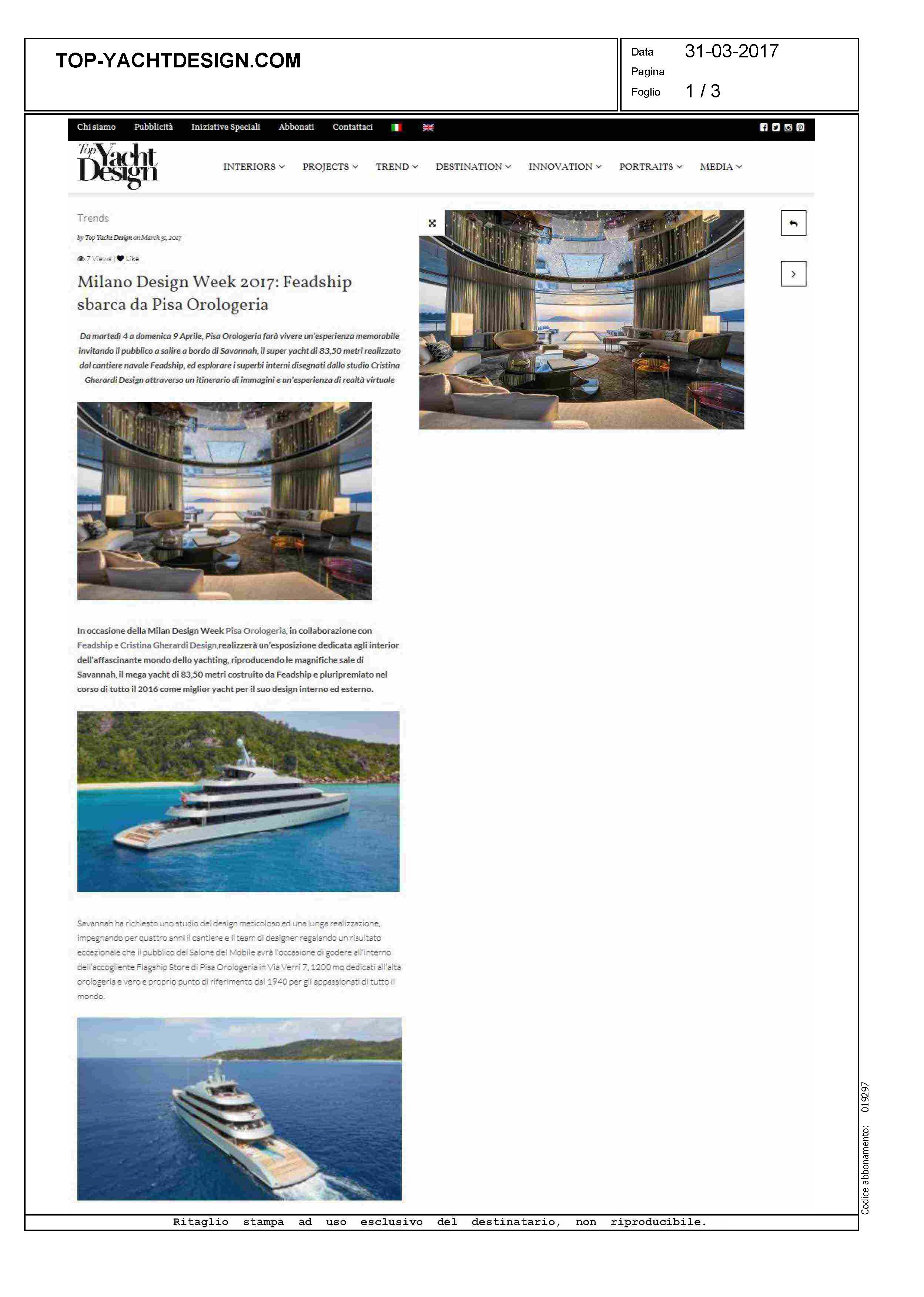 Milano design week 2017 feadship at pisaorologeria for Yacht design milano