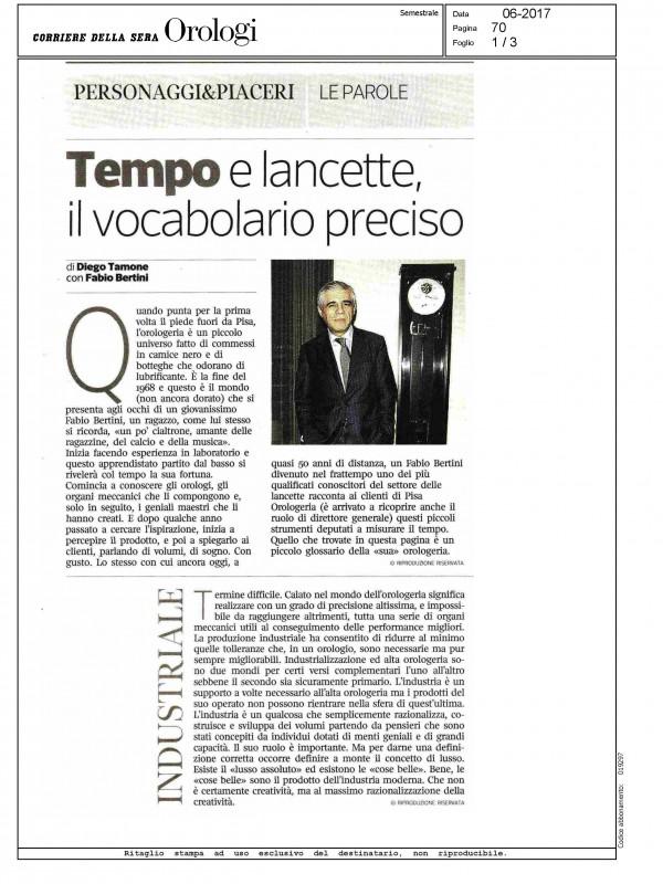 """""""Tempo e lancette, il vocabolario preciso"""" – CORRIERE DELLA SERA – OROLOGI"""