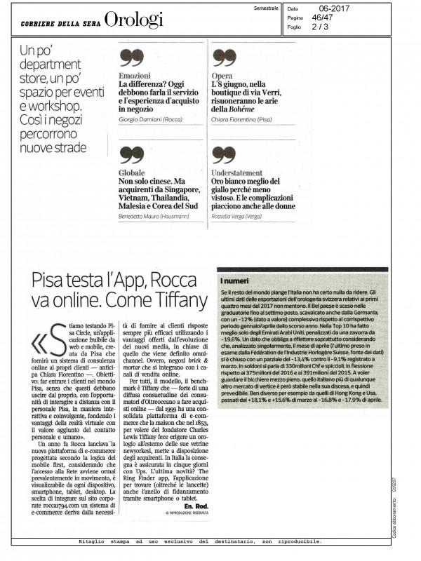 """""""Pisa test the App"""" – CORRIERE DELLA SERA – OROLOGI"""
