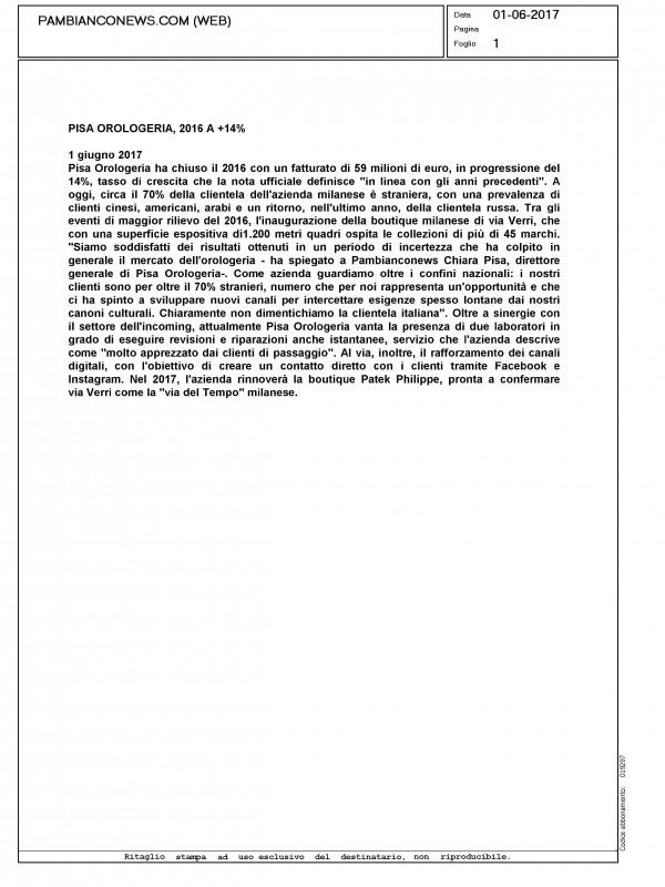 """Pisa Orologeria, 2016: +14%"" – PAMBIANCONEWS.COM"
