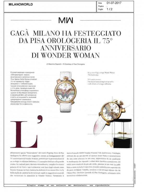 """""""GaGà Milano ha festeggiato da Pisa Orologeria il 75° anniversario di Wonder Woman"""" – MILANOWORLD"""