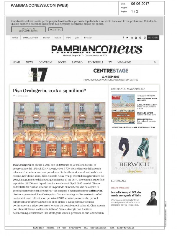 """""""Pisa Orologeria, 2016 with a 59 milion turnover"""" – PAMBIANCONEWS.COM"""