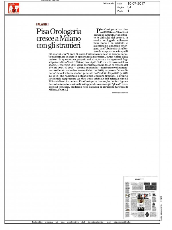 """""""Pisa Orologeria grows in Milan with foreigners"""" – LA REPUBBLICA AFFARI E FINANZA"""