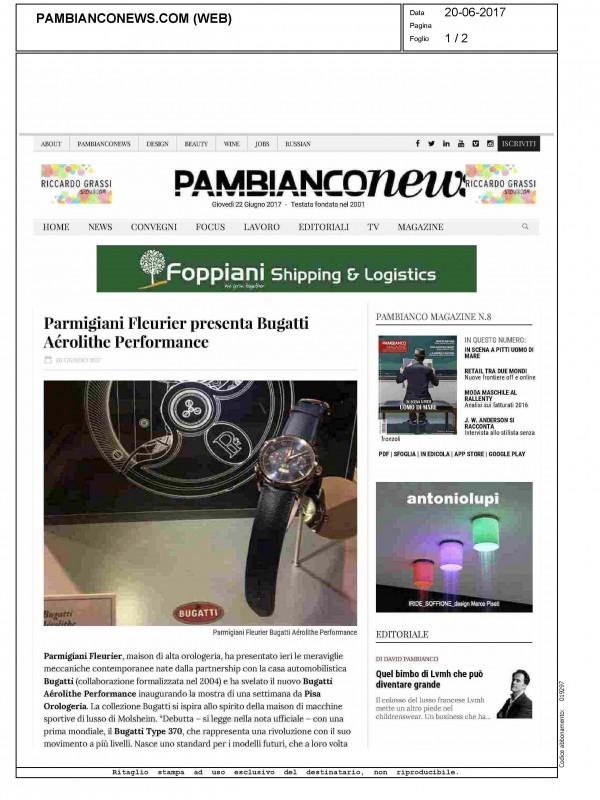 """""""Parmigiani Fleurier presents the Bugatti Aérolithe Performance"""" – PAMBIANCONEWS.COM"""
