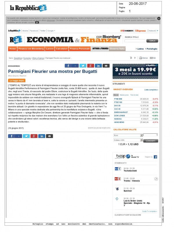 """Parmigiani Fleurier: an exhibition for Bugatti"" – REPUBBLICA.IT"
