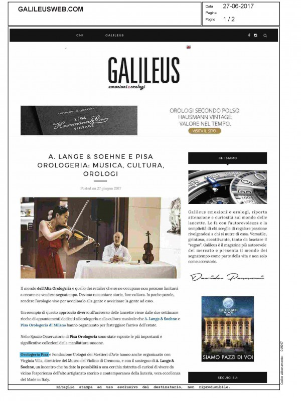 """""""A.Lange & Soehne and Pisa Orologeria: music, culture and watches"""" – GALILEUS"""
