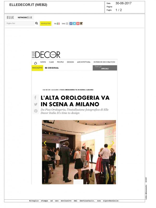"""L'alta orologeria va in scena a Milano"" – ELLEDECOR.IT"