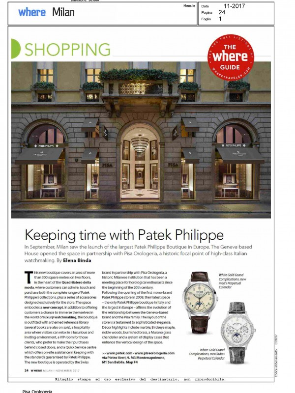 """""""Keeping time with Patek Philippe"""" – WHERE MILANO"""