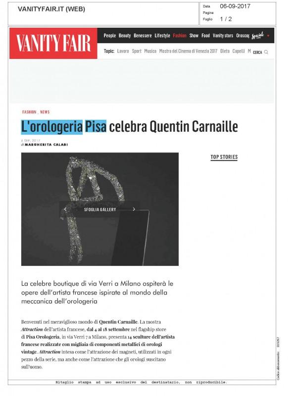 """""""Pisa Orologeria celebrates Quentin Carnaille"""" – VANITYFAIR.IT"""