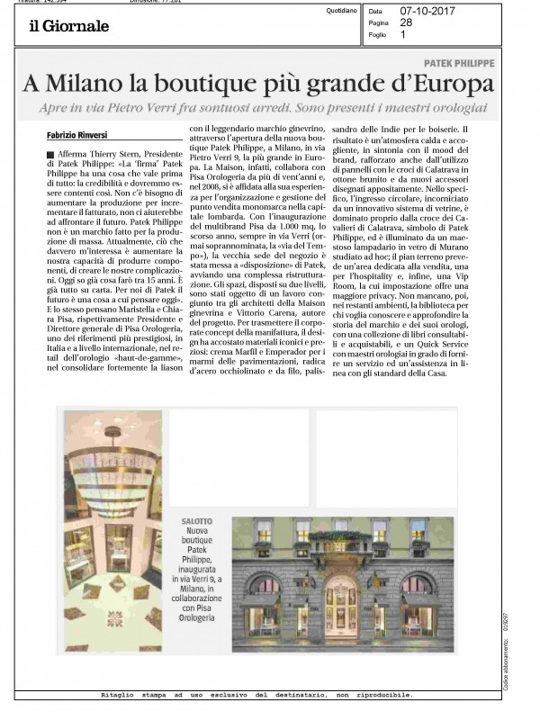 """""""In Milan the biggest Boutique of Europe"""" – IL GIORNALE"""