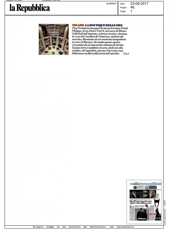"""The Boutique of hours"" – LA REPUBBLICA"