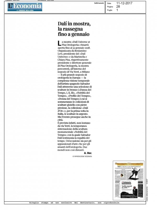 """""""Dalí in mostra, la rassegna fino a Gennaio"""" – L'ECONOMIA DEL CORRIERE"""