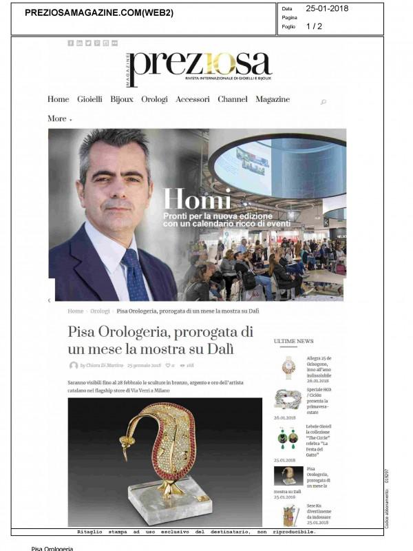 """""""Pisa Orologeria, prorogata di un mese la mostra su Dalí"""" – PREZIOSAMAGAZINE.COM"""
