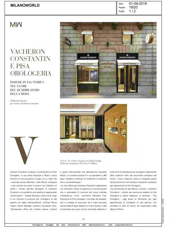 """Vacheron Constantin e Pisa Orologeria"" – MILANOWORLD"
