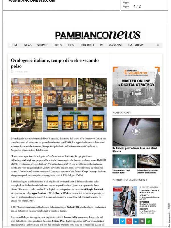"""""""Orologerie italiane, tempo di web e secondo polso"""" – PAMBIANCONEWS.COM"""