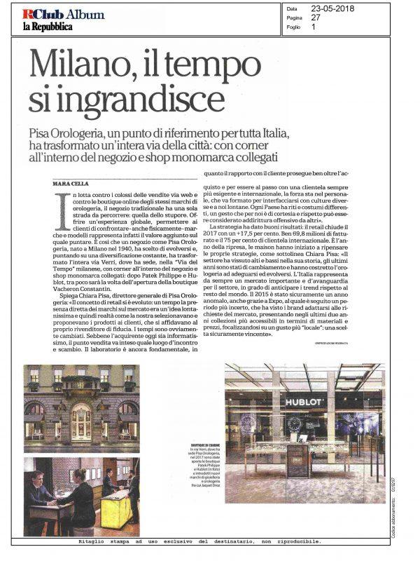 """""""Milano, il tempo si ingrandisce"""" – LA REPUBBLICA"""
