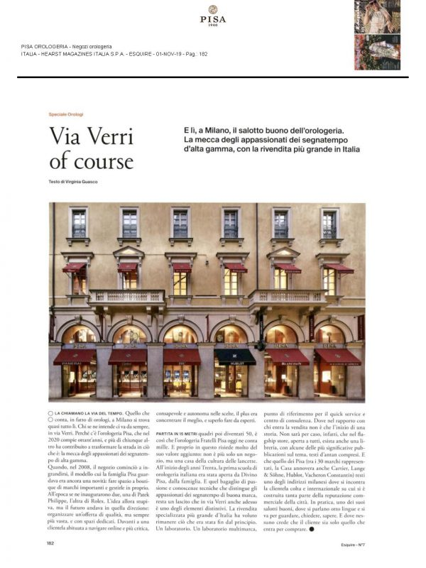 """""""Via Verri of course"""" – ESQUIRE"""