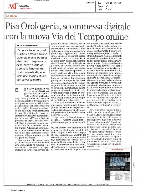 """""""Pisa Orologeria, scommessa digitale con la nuova Via del Tempo online"""" – AFFARI E FINANZA"""